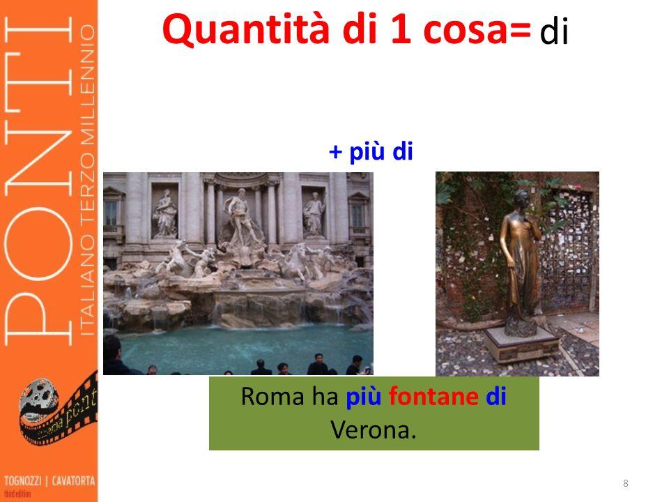 Roma ha più fontane di Verona.