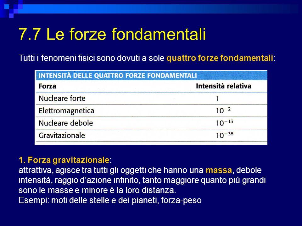 7.7 Le forze fondamentali Tutti i fenomeni fisici sono dovuti a sole quattro forze fondamentali: 1. Forza gravitazionale: