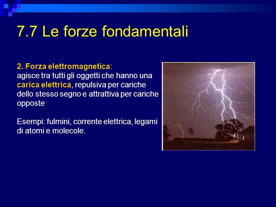 7.7 Le forze fondamentali 2. Forza elettromagnetica: