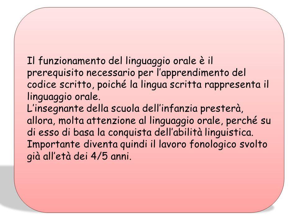 Il funzionamento del linguaggio orale è il prerequisito necessario per l'apprendimento del codice scritto, poiché la lingua scritta rappresenta il linguaggio orale.