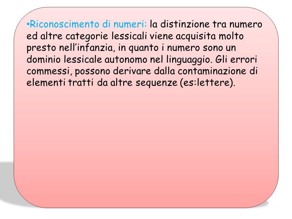 Riconoscimento di numeri: la distinzione tra numero ed altre categorie lessicali viene acquisita molto presto nell'infanzia, in quanto i numero sono un dominio lessicale autonomo nel linguaggio.