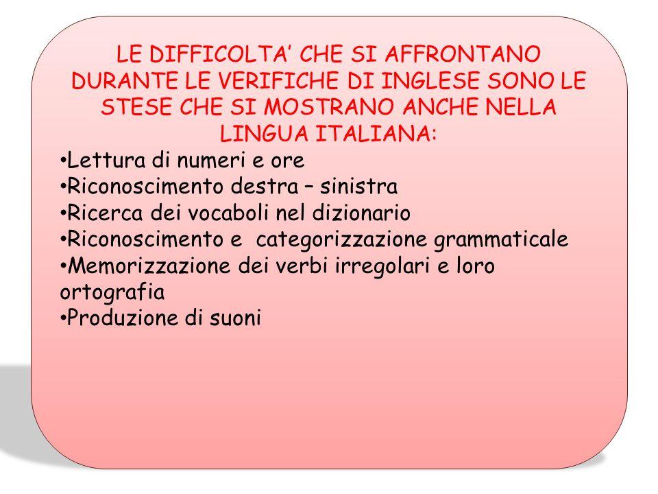 LE DIFFICOLTA' CHE SI AFFRONTANO DURANTE LE VERIFICHE DI INGLESE SONO LE STESE CHE SI MOSTRANO ANCHE NELLA LINGUA ITALIANA: