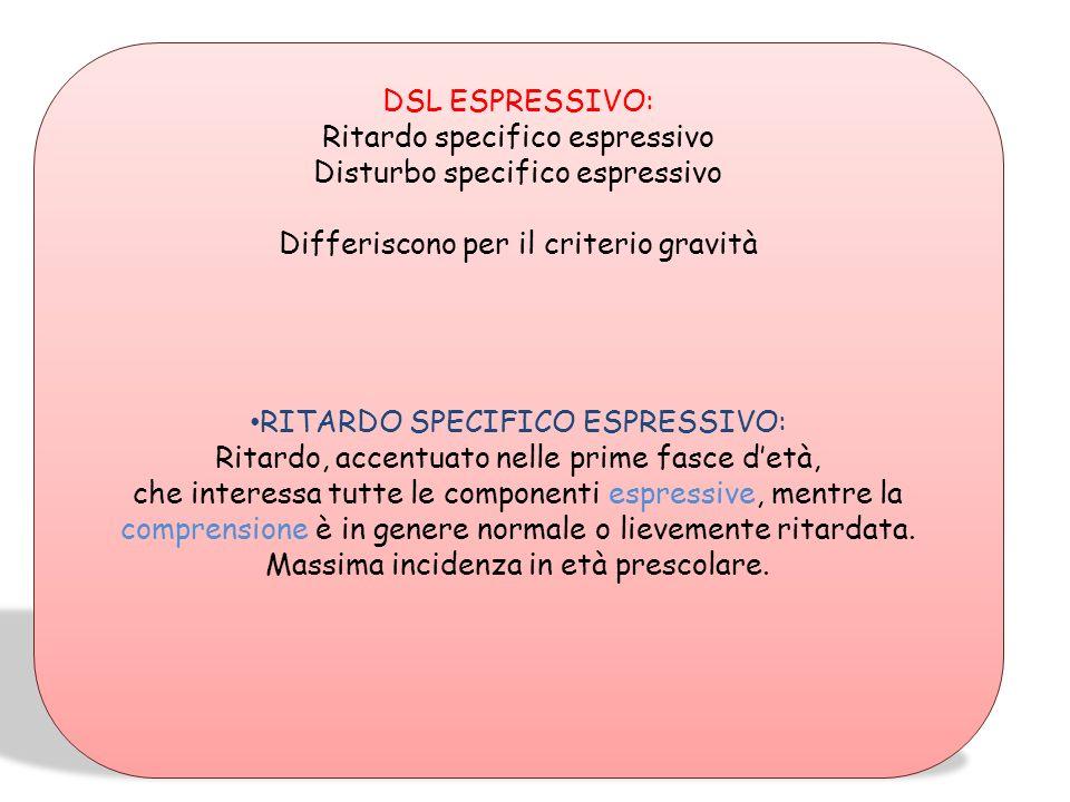 Ritardo specifico espressivo Disturbo specifico espressivo