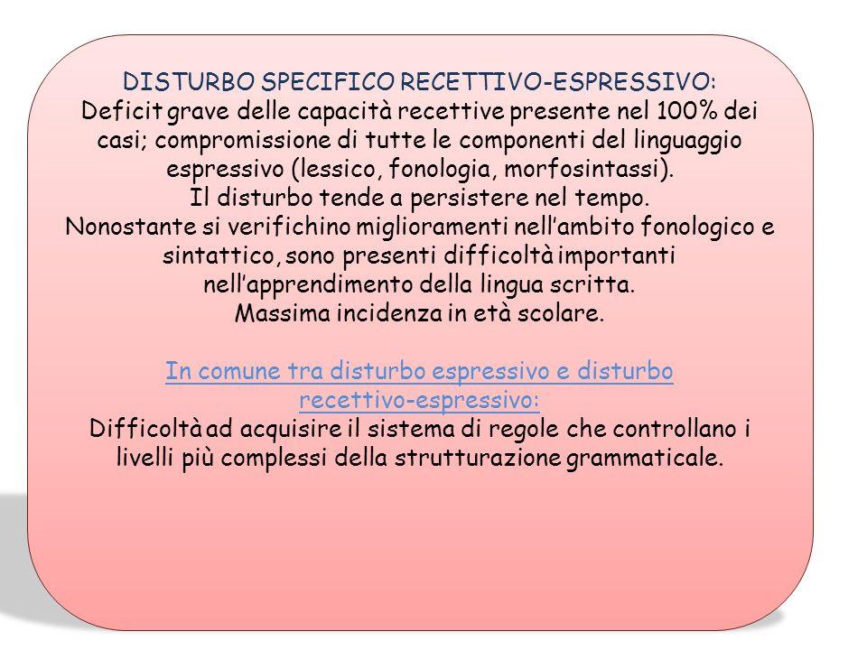 DISTURBO SPECIFICO RECETTIVO-ESPRESSIVO: