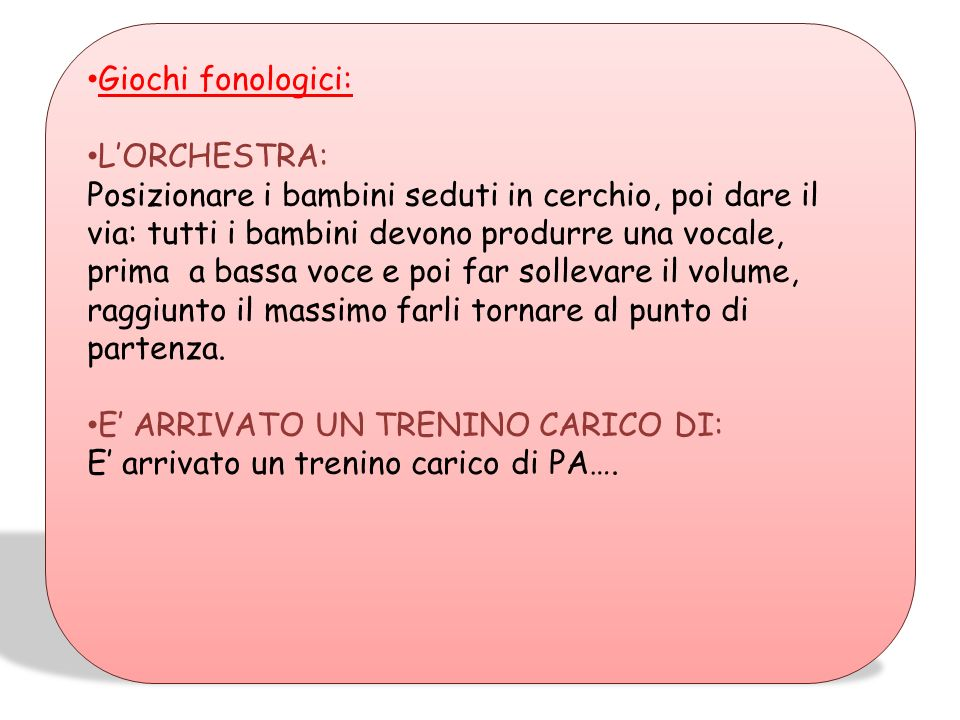 Giochi fonologici: L'ORCHESTRA: