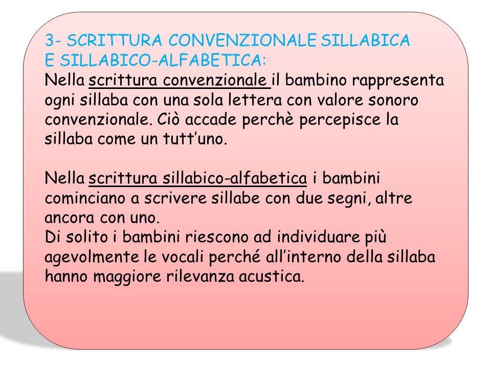 3- SCRITTURA CONVENZIONALE SILLABICA