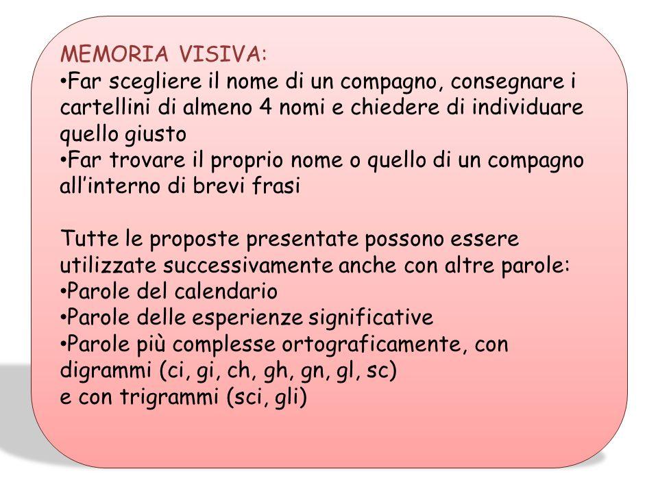 MEMORIA VISIVA: Far scegliere il nome di un compagno, consegnare i cartellini di almeno 4 nomi e chiedere di individuare quello giusto.