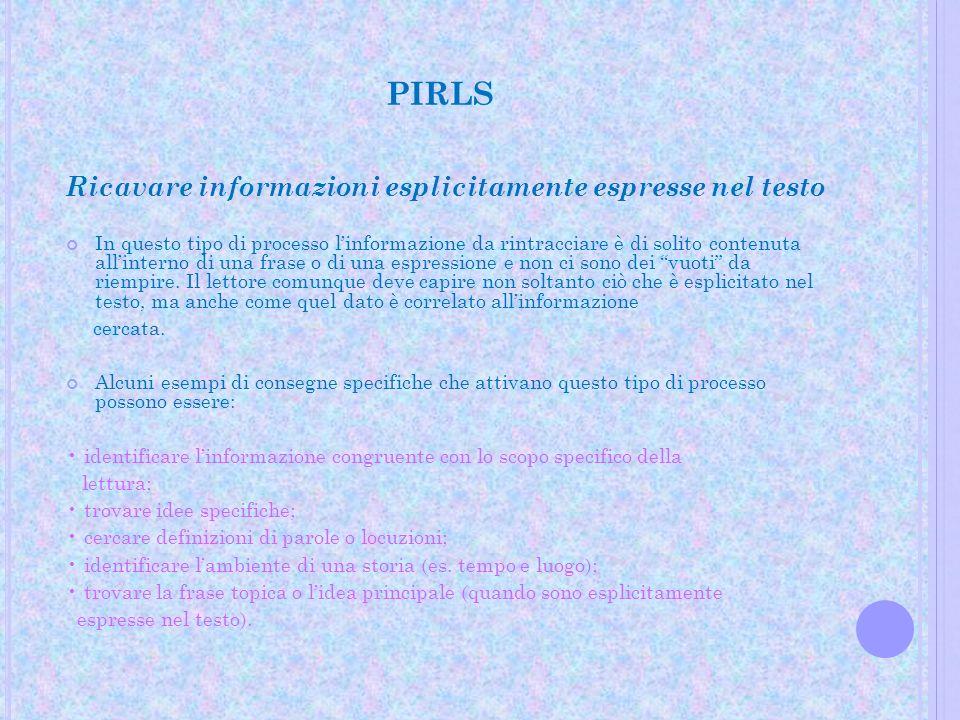PIRLS Ricavare informazioni esplicitamente espresse nel testo