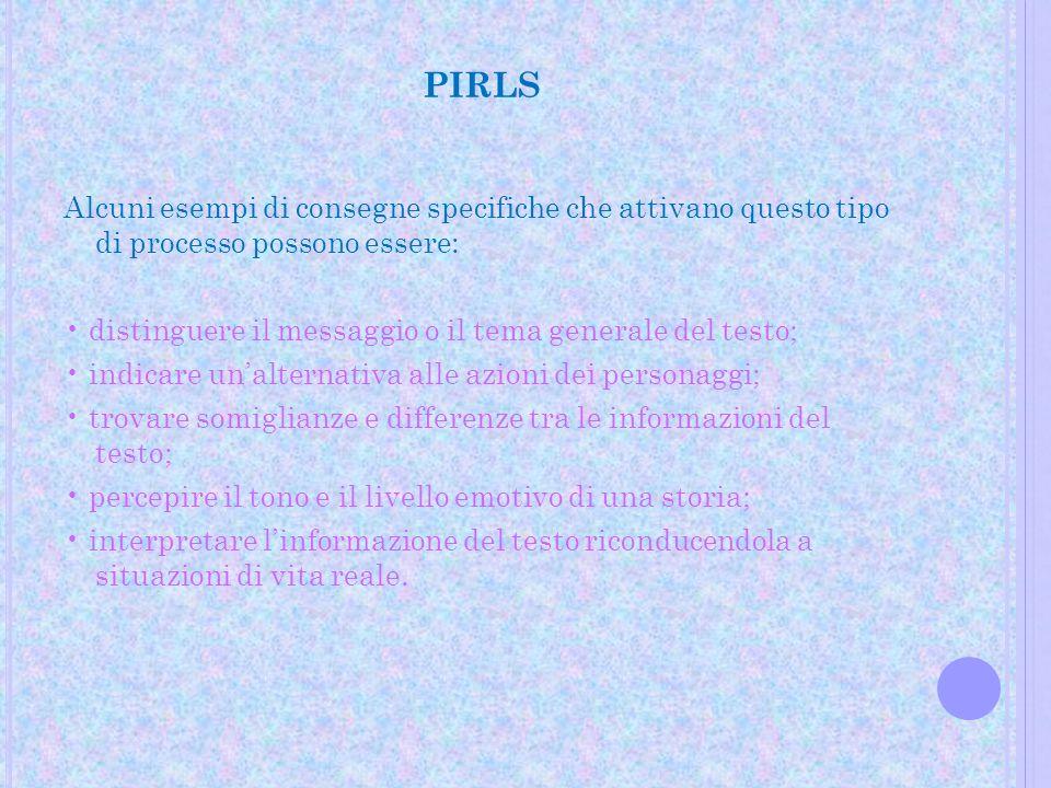 PIRLS Alcuni esempi di consegne specifiche che attivano questo tipo di processo possono essere: