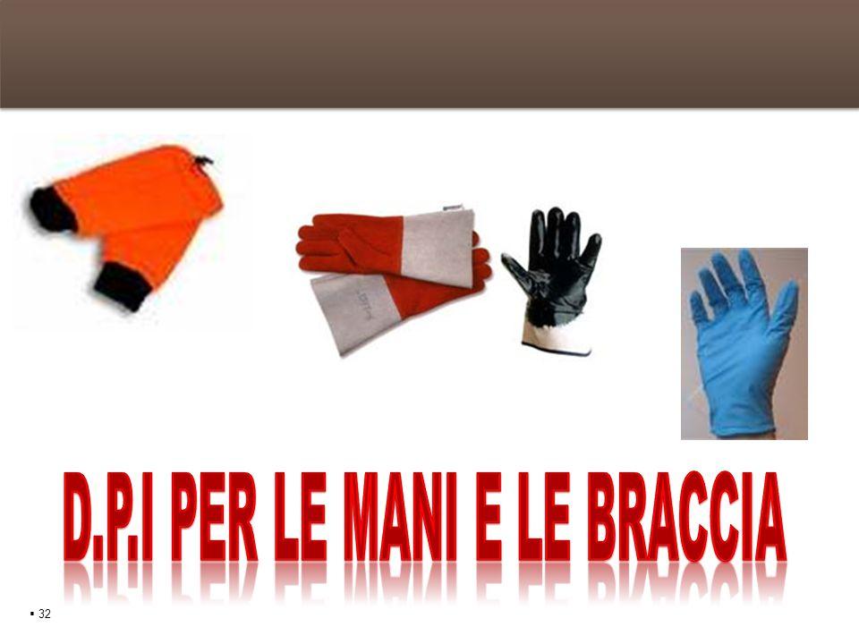 D.P.I per le mani e le braccia