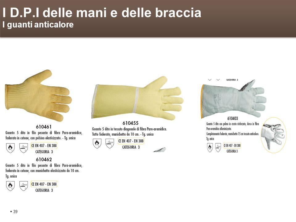 I D.P.I delle mani e delle braccia I guanti anticalore