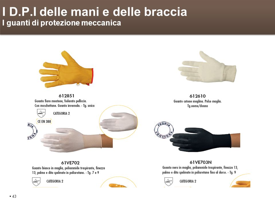 I D.P.I delle mani e delle braccia I guanti di protezione meccanica