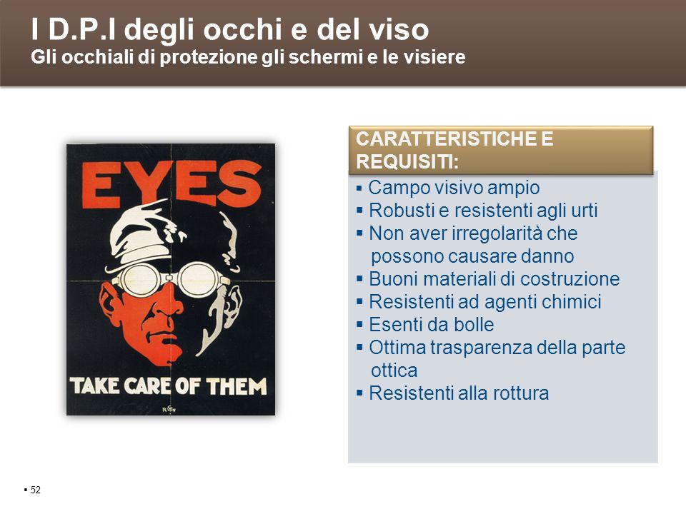 I D.P.I degli occhi e del viso Gli occhiali di protezione gli schermi e le visiere