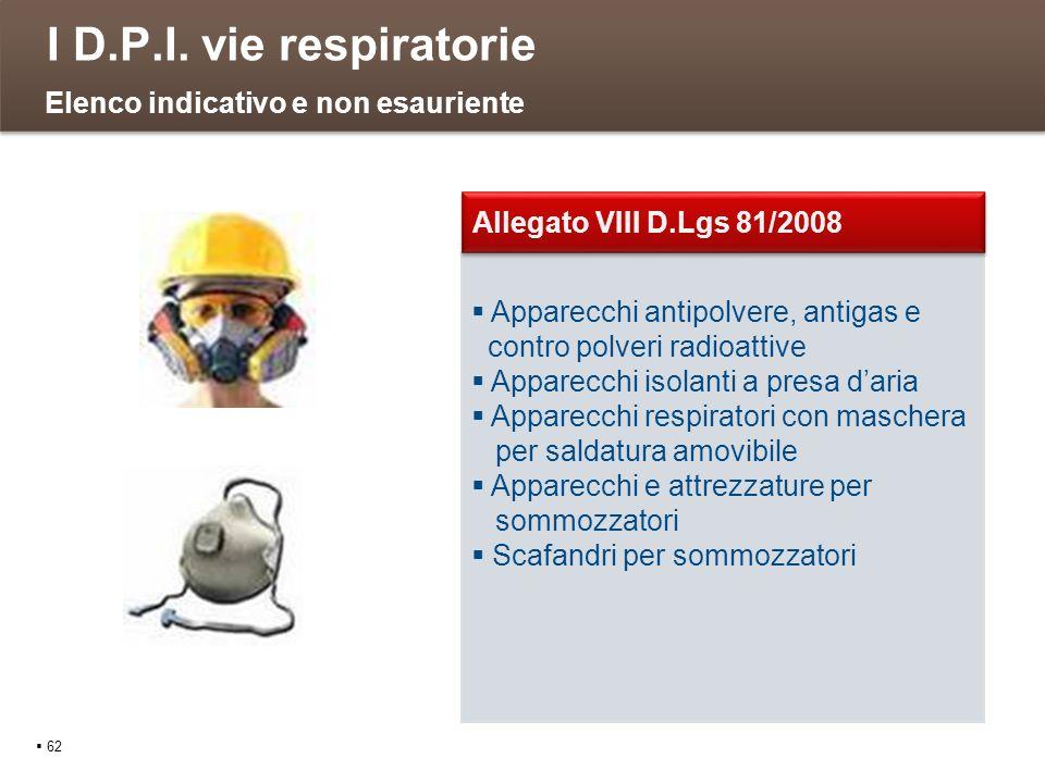 I D.P.I. vie respiratorie Elenco indicativo e non esauriente