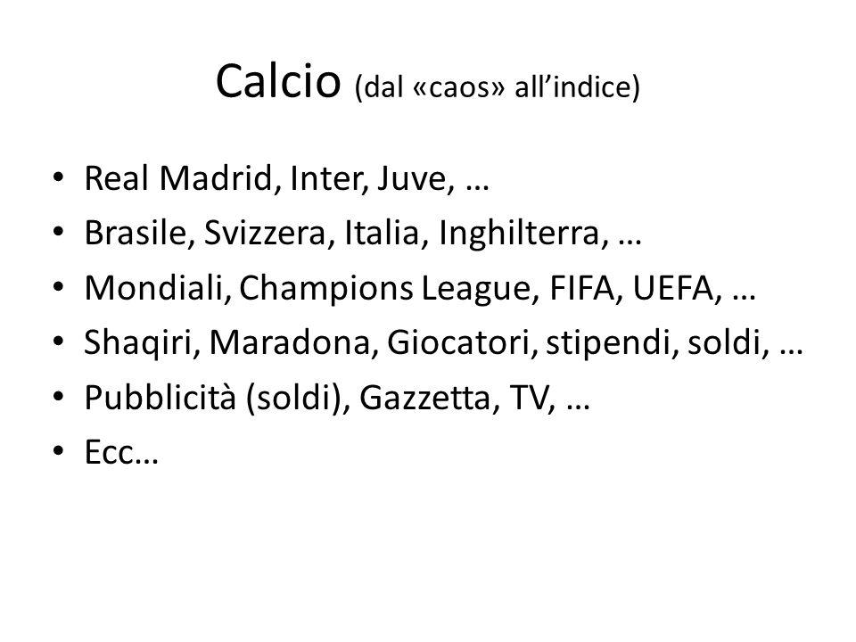 Calcio (dal «caos» all'indice)