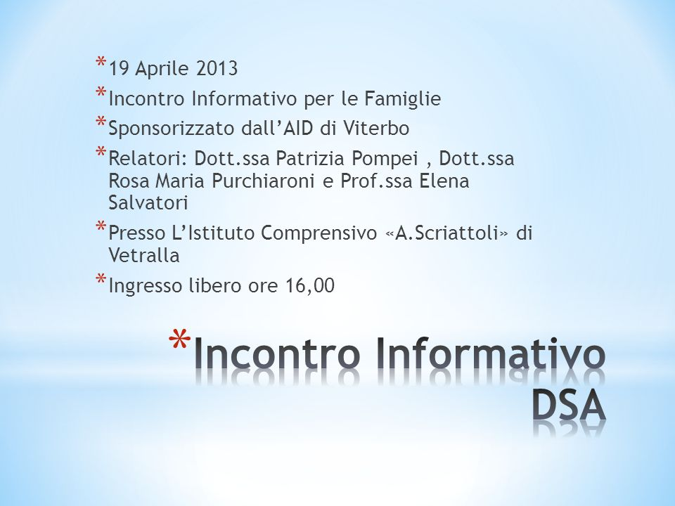 Incontro Informativo DSA