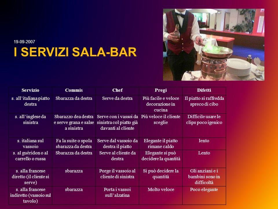 I SERVIZI SALA-BAR 19-09-2007 Servizio Commis Chef Pregi Difetti
