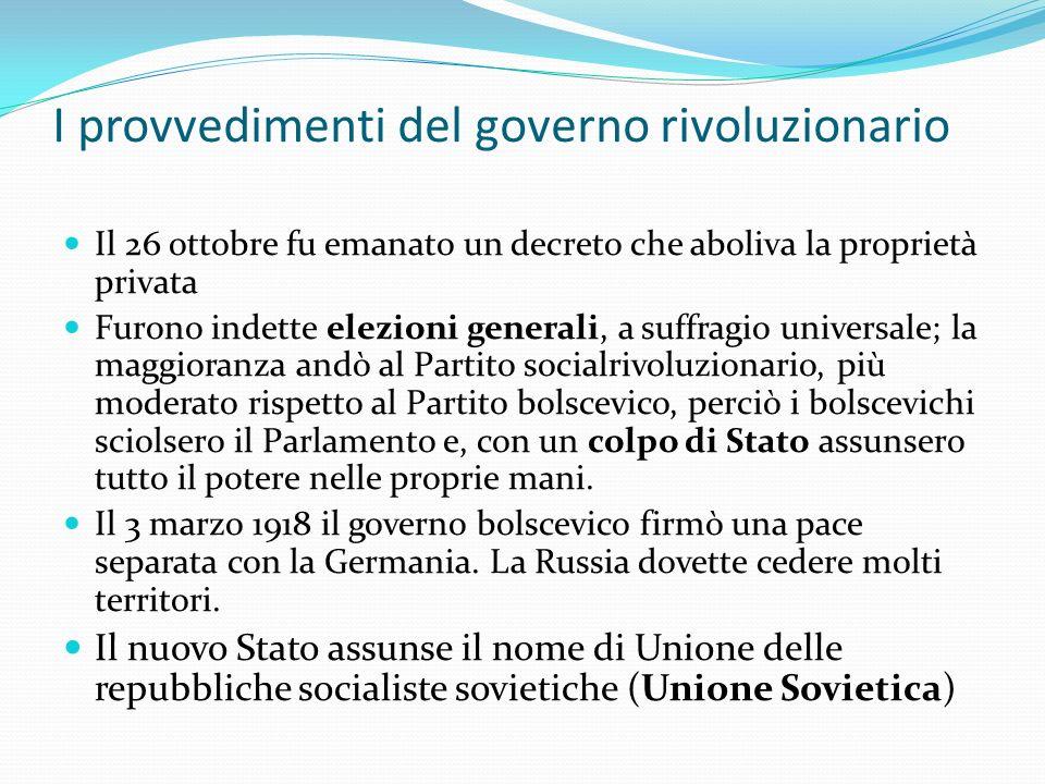 I provvedimenti del governo rivoluzionario