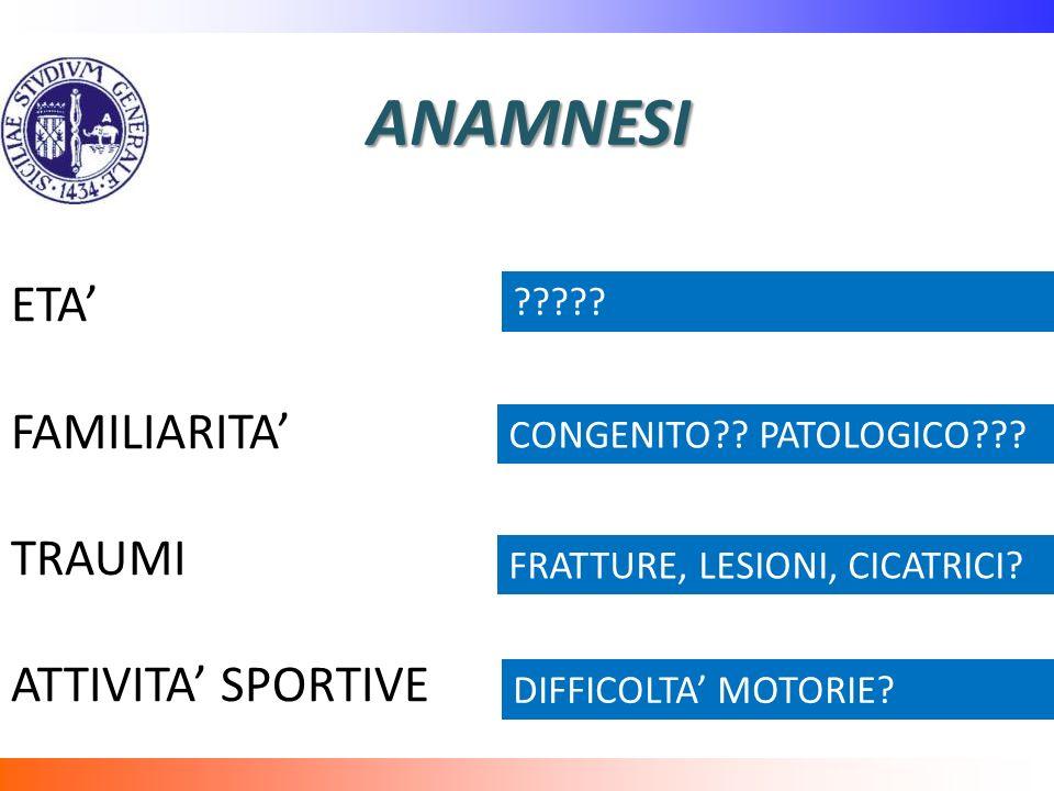 ANAMNESI ETA' FAMILIARITA' TRAUMI ATTIVITA' SPORTIVE