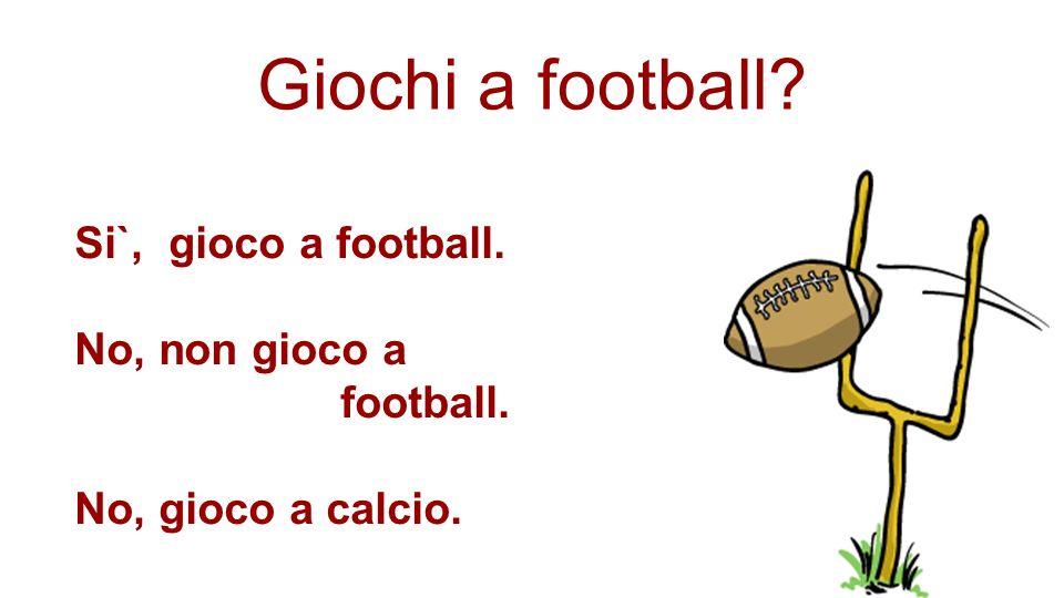 Giochi a football Si`, gioco a football. No, non gioco a football.