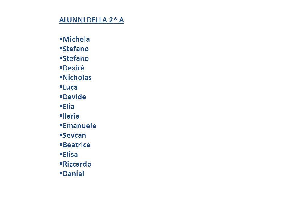 ALUNNI DELLA 2^ AMichela. Stefano. Desiré. Nicholas. Luca. Davide. Elia. Ilaria. Emanuele. Sevcan. Beatrice.