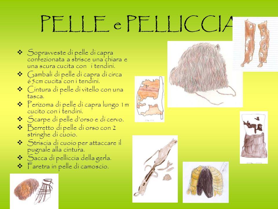 PELLE e PELLICCIA Sopravveste di pelle di capra confezionata a strisce una chiara e una scura cucita con i tendini.