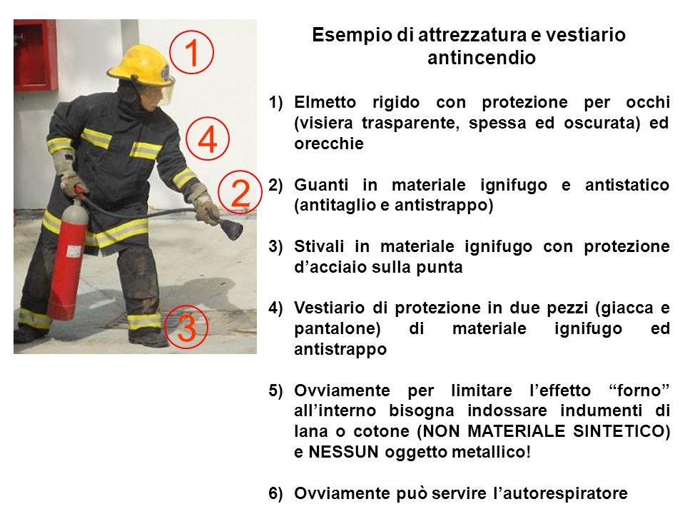Esempio di attrezzatura e vestiario antincendio