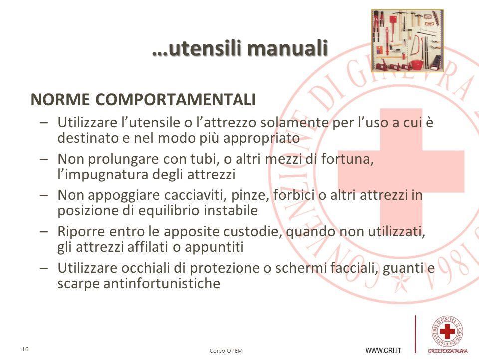 …utensili manuali NORME COMPORTAMENTALI