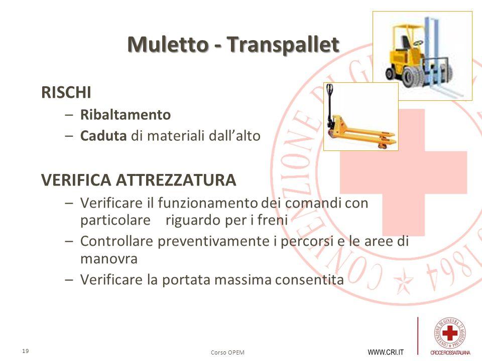 Muletto - Transpallet RISCHI VERIFICA ATTREZZATURA Ribaltamento