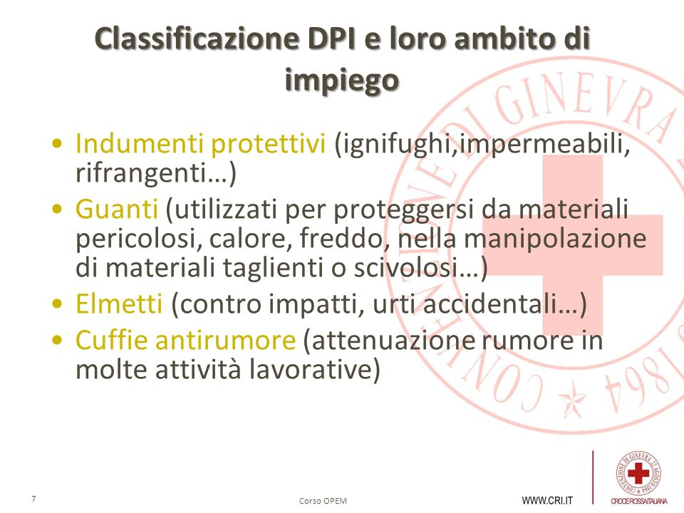 Classificazione DPI e loro ambito di impiego