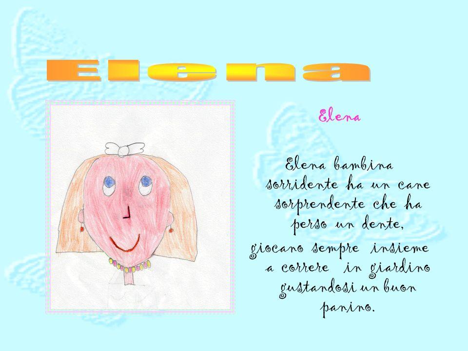Elena Elena. Elena bambina sorridente ha un cane sorprendente che ha perso un dente,