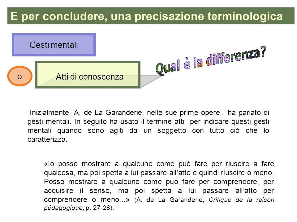 Atti di conoscenza E per concludere, una precisazione terminologica