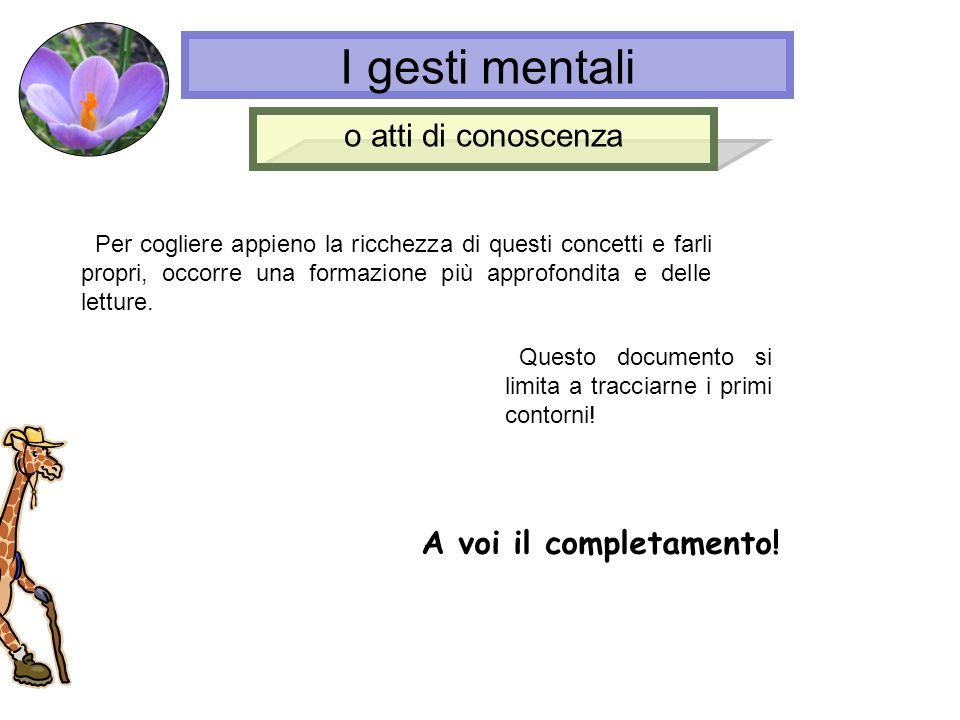 I gesti mentali o atti di conoscenza A voi il completamento!