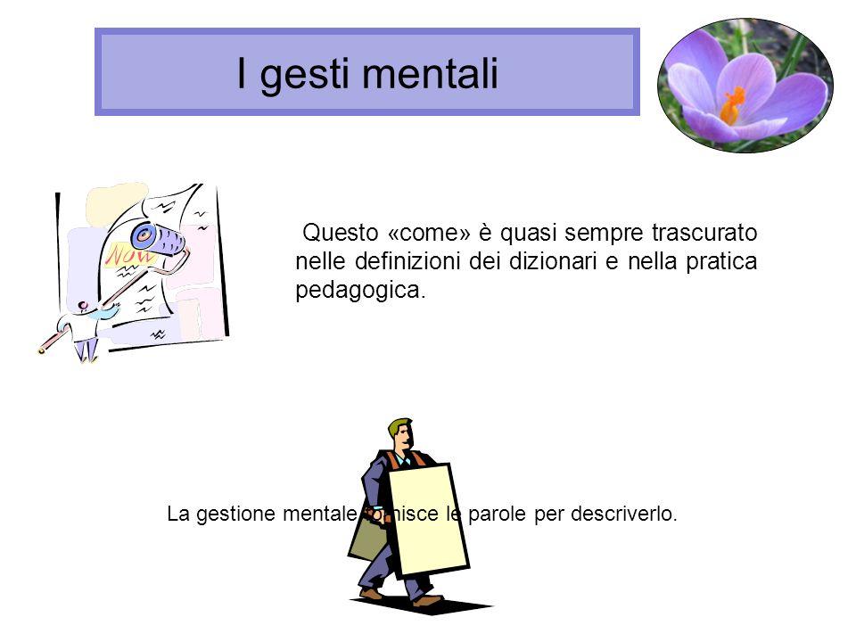 I gesti mentaliQuesto «come» è quasi sempre trascurato nelle definizioni dei dizionari e nella pratica pedagogica.