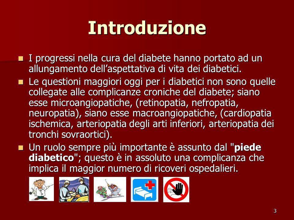 Introduzione I progressi nella cura del diabete hanno portato ad un allungamento dell'aspettativa di vita dei diabetici.