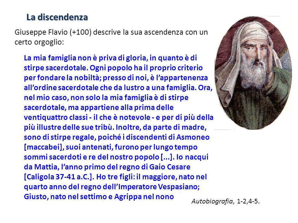 La discendenza Giuseppe Flavio (+100) descrive la sua ascendenza con un certo orgoglio: