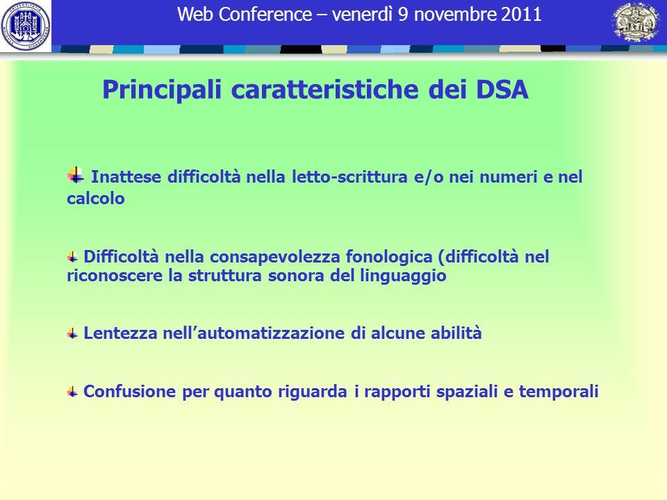 Principali caratteristiche dei DSA