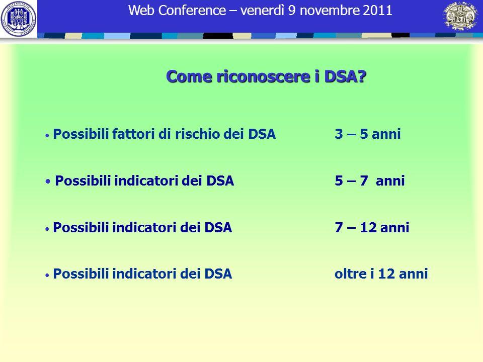 Come riconoscere i DSA Possibili indicatori dei DSA 5 – 7 anni