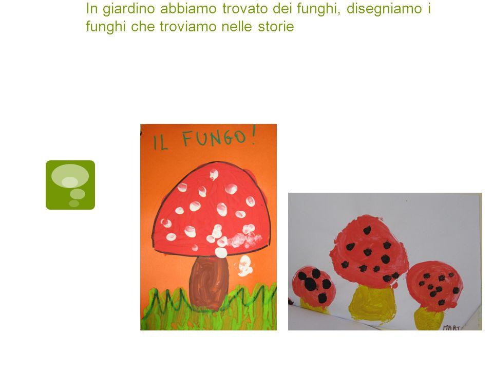 In giardino abbiamo trovato dei funghi, disegniamo i funghi che troviamo nelle storie