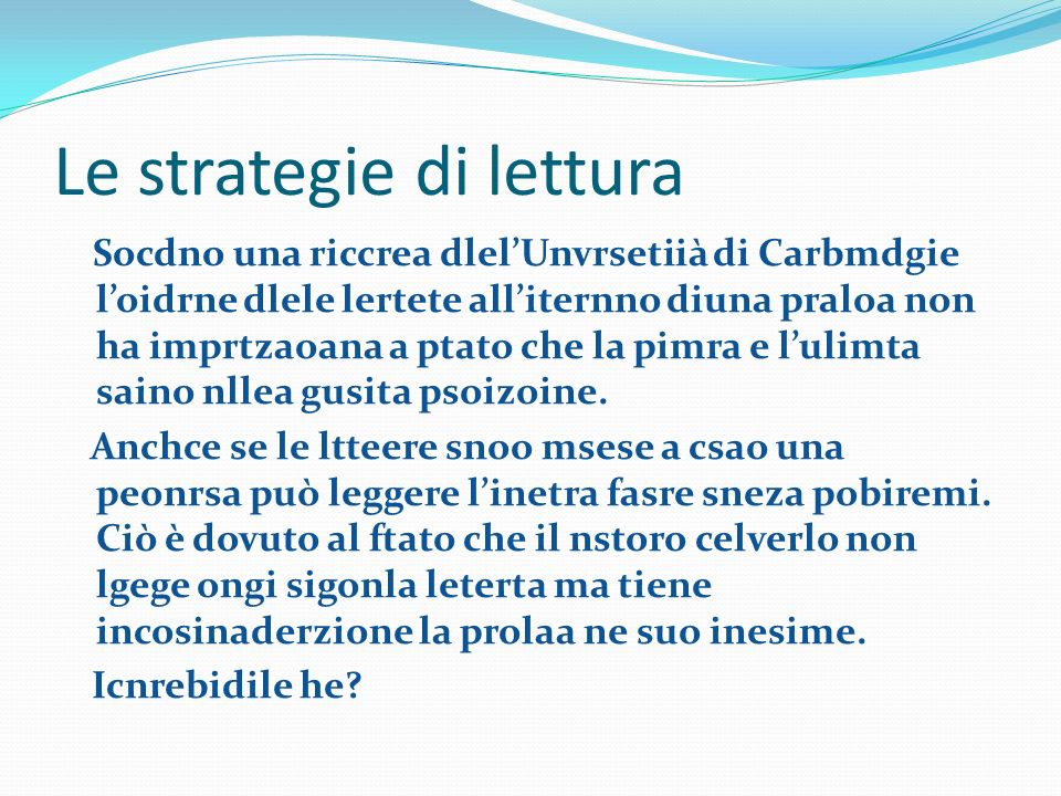 Le strategie di lettura