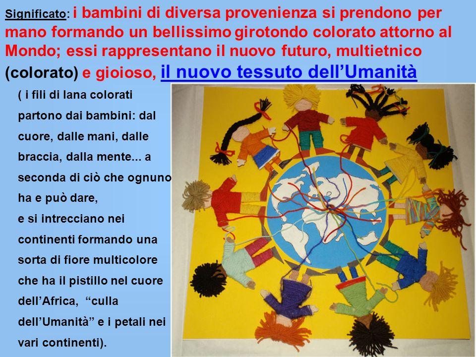 Significato: i bambini di diversa provenienza si prendono per mano formando un bellissimo girotondo colorato attorno al Mondo; essi rappresentano il nuovo futuro, multietnico (colorato) e gioioso, il nuovo tessuto dell'Umanità