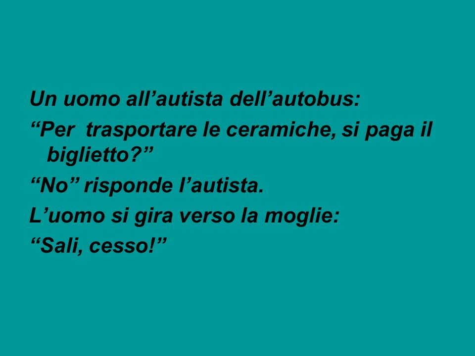 Un uomo all'autista dell'autobus: