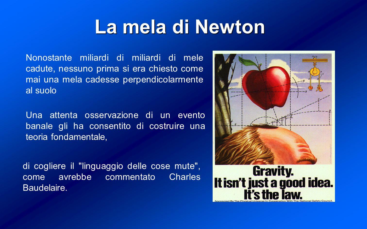 La mela di Newton Nonostante miliardi di miliardi di mele cadute, nessuno prima si era chiesto come mai una mela cadesse perpendicolarmente al suolo.