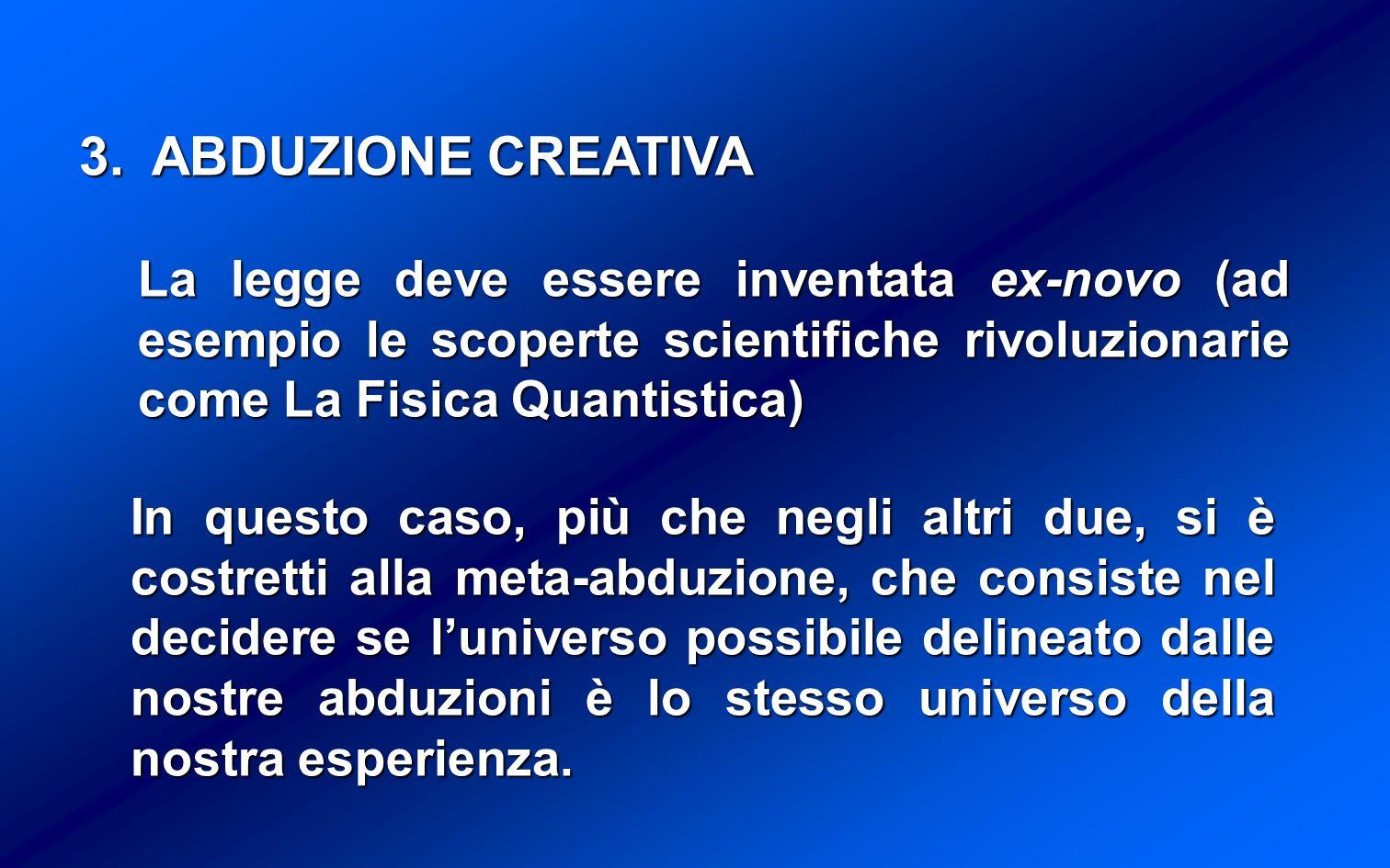 ABDUZIONE CREATIVA La legge deve essere inventata ex-novo (ad esempio le scoperte scientifiche rivoluzionarie come La Fisica Quantistica)