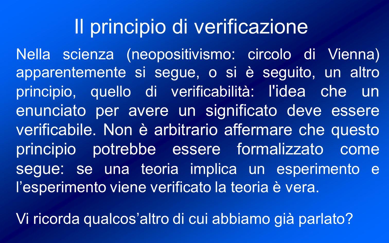 Il principio di verificazione