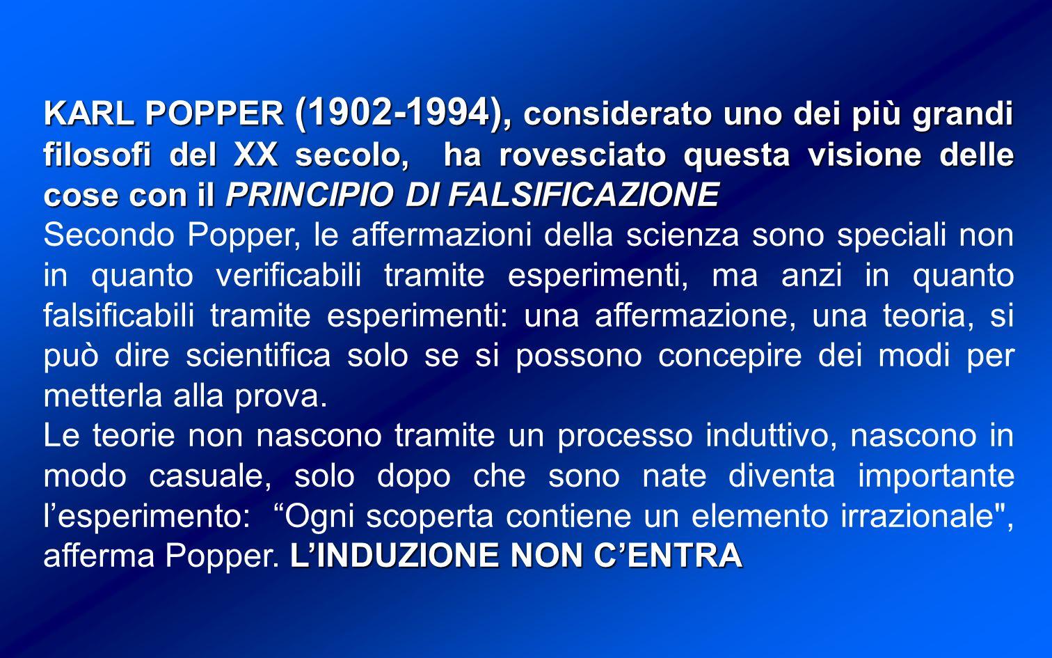 KARL POPPER (1902-1994), considerato uno dei più grandi filosofi del XX secolo, ha rovesciato questa visione delle cose con il PRINCIPIO DI FALSIFICAZIONE