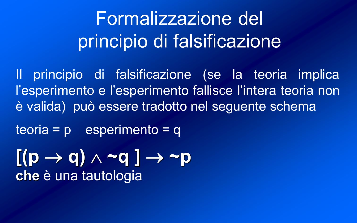 Formalizzazione del principio di falsificazione
