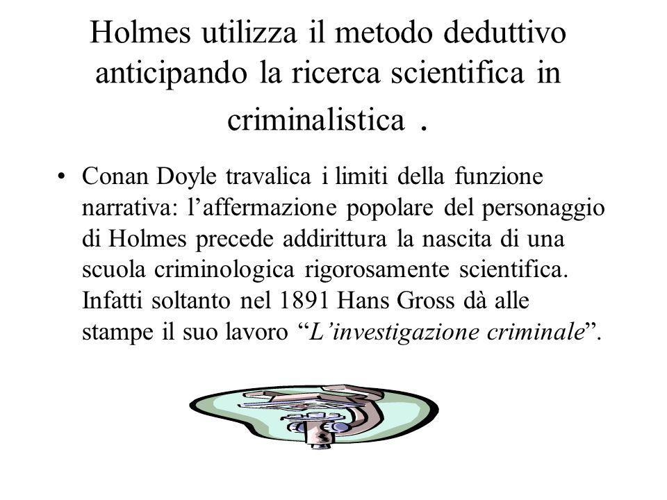 Holmes utilizza il metodo deduttivo anticipando la ricerca scientifica in criminalistica .