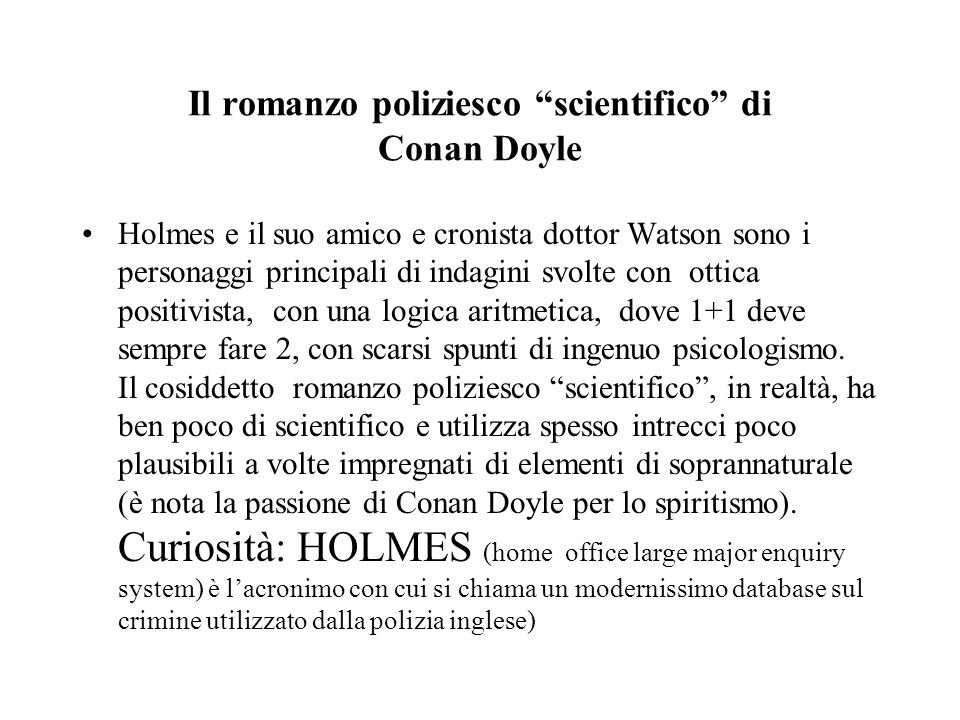 Il romanzo poliziesco scientifico di Conan Doyle