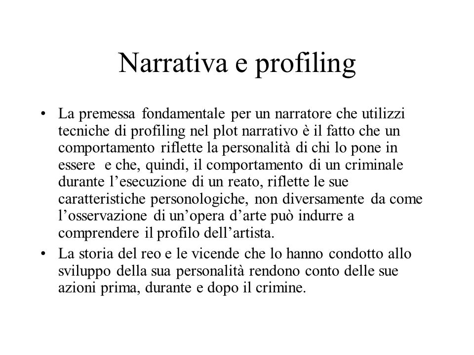 Narrativa e profiling